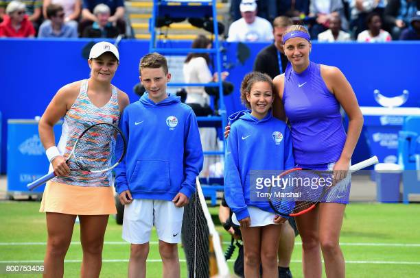 Ashleigh Barty of Australia and Petra Kvitova of Czech Republic poses before the start of the Aegon Classic Birmingham Final at Edgbaston Priory Club...