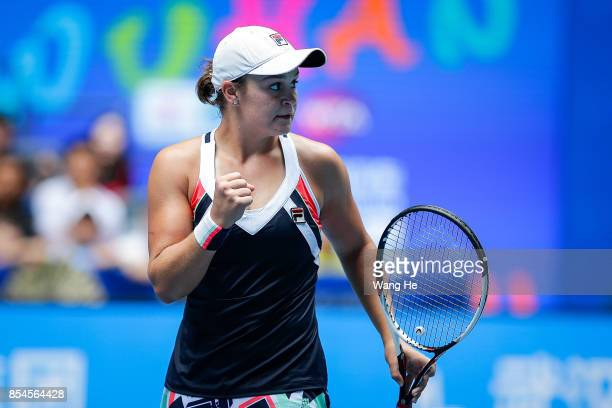 Ashleigh Barty of Australia celebrates after defeating Agnieszka Redwanska of Poland in their match of Women's Single during Day 4 on September 27...