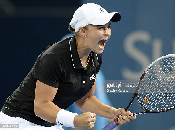 Ashleigh Barty of Australia celebrates victory after defeating Daniela Hantuchova of Sovlakia during day two of the 2014 Brisbane International at...