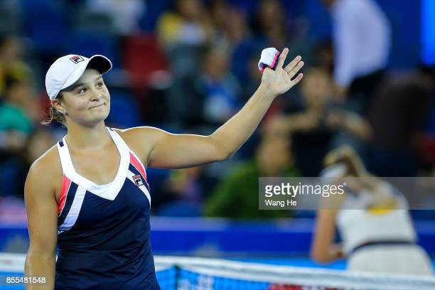 WUHAN CHINA SEPTEMBER 29 Ashleigh Barty of Australia celebrates victory during the Ladies Singles semi final match against Jelena Ostapenko of Latvia...