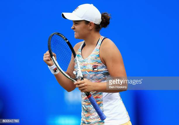 Ashleigh Barty of Australia celebrates winning her semi final match against Garbine Muguruza day six of the Aegon Classic Birmingham at Edgbaston...