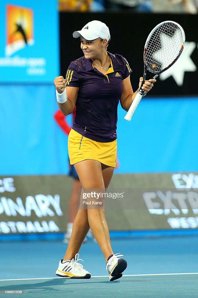 Ashleigh Barty of Australia celebrates winning her singles match against Francesca Schiavone of Italy during day six of the Hopman Cup at Perth Arena on January 3, 2013 in Perth, Australia.