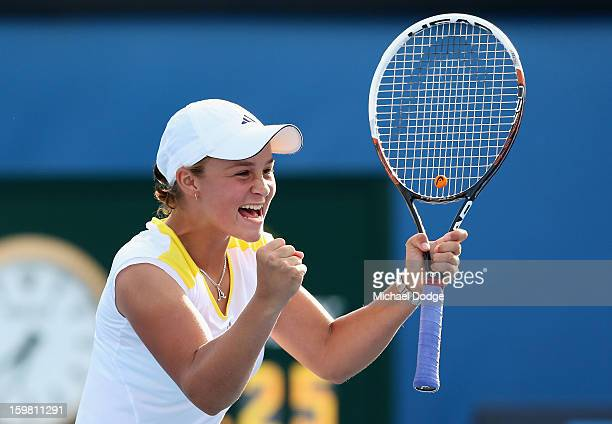 Ashleigh Barty of Australia celebrates winning her third round doubles match with Casey Dellacqua of Australia against Natalie Grandin of South...