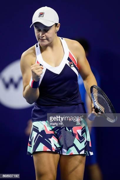 Ashleigh Barty of Australia celebrates winning points against Anastasia Pavlyuchenkova of Russia during the WTA Elite Trophy Zhuhai 2017 at Hengqin...