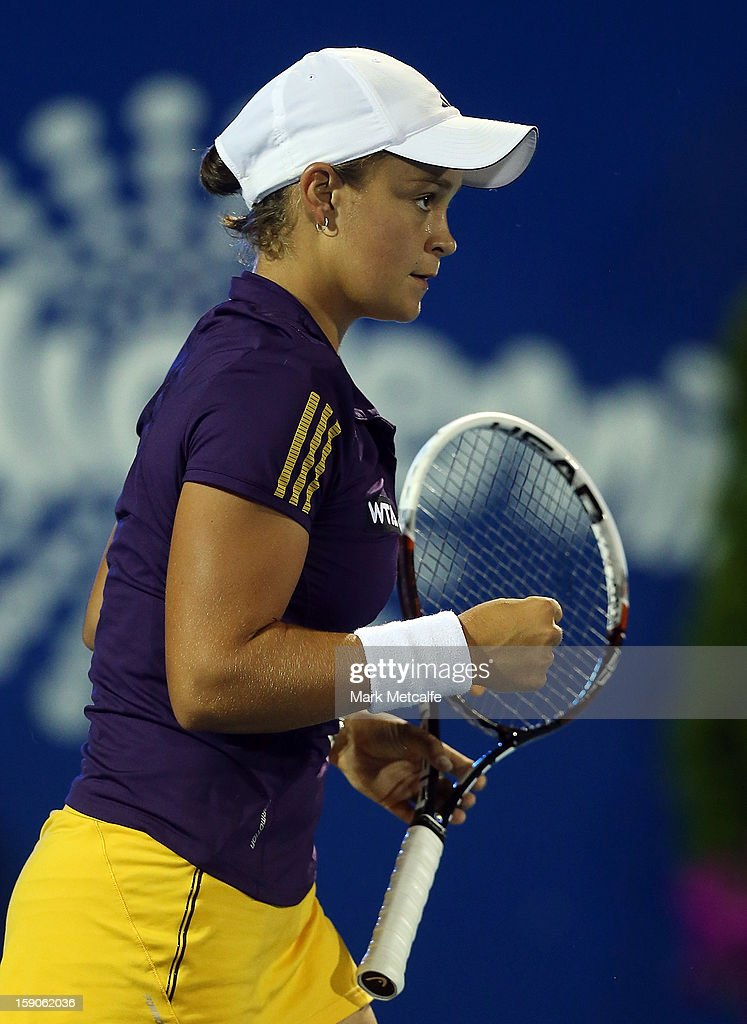 <a gi-track='captionPersonalityLinkClicked' href=/galleries/search?phrase=Ashleigh+Barty&family=editorial&specificpeople=7369424 ng-click='$event.stopPropagation()'>Ashleigh Barty</a> of Australia celebrates winning set point in her first round match against Mona Barthel of Germany during day four of the Hobart International at Domain Tennis Centre on January 7, 2013 in Hobart, Australia.
