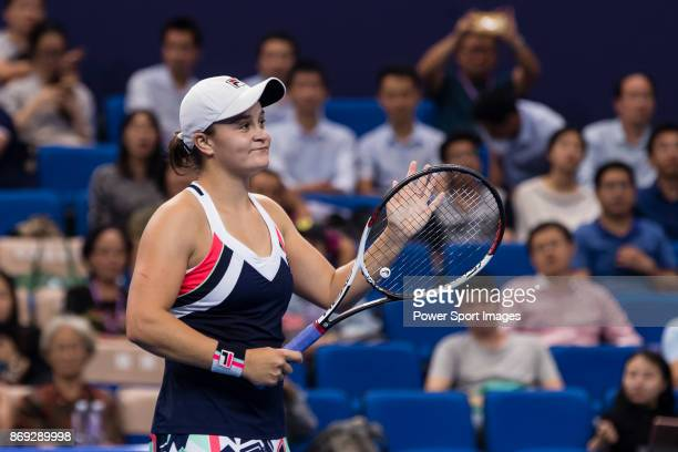 Ashleigh Barty of Australia celebrates winning the singles Round Robin match of the WTA Elite Trophy Zhuhai 2017 against Angelique Kerber of Germany...