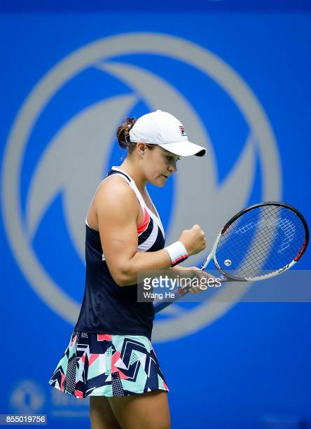 Ashleigh Barty of Australia celebrates wins the point during the match against Karolina Pliskova of Czech on Day 5 of 2017 Dongfeng Motor Wuhan Open...