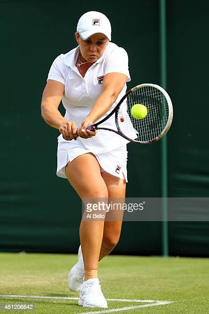 Ashleigh Barty of Australia during her Ladies Doubles first round match with Casey Dellacqua against Heather Watson of Great Britain and Eugenie...