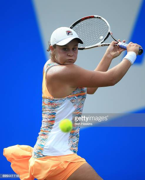 Ashleigh Barty of Australia hits a backhand during the second round match against Barbora Strycova of The Czech Republic on day three of The Aegon...