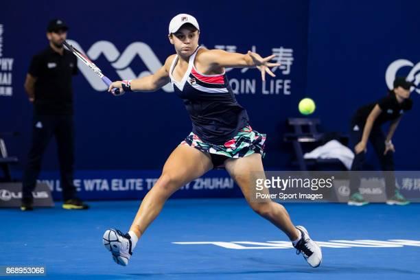 Ashleigh Barty of Australia hits a return during the singles Round Robin match of the WTA Elite Trophy Zhuhai 2017 against Anastasia Pavlyuchenkova...