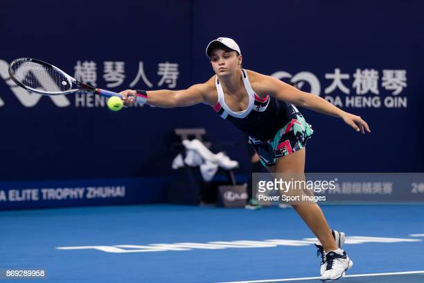 Ashleigh Barty of Australia hits a return during the singles Round Robin match of the WTA Elite Trophy Zhuhai 2017 against Angelique Kerber of...