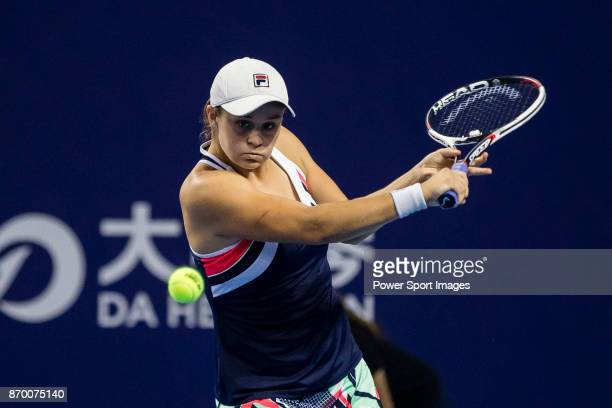 Ashleigh Barty of Australia hits a return during the singles semi final match of the WTA Elite Trophy Zhuhai 2017 against Coco Vandeweghe of United...