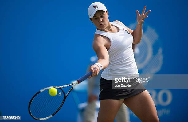 Ashleigh Barty of Australia in action during her match against Andrea Hlavackova of Czech Republic on day four of the WTA Aegon Open on June 9 2016...