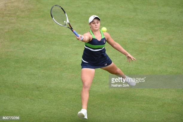 Ashleigh Barty of Australia in action during the final doubles match against Chan HaoChing of Taiwan and Zhang Shuai of China on day seven of The...