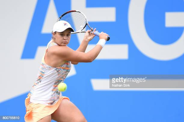 Ashleigh Barty of Australia in action during the final match against Petra Kvitova of Czech Republic on day seven of The Aegon Classic Birmingham at...