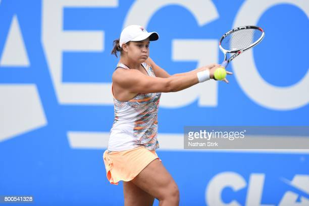 Ashleigh Barty of Australia in action during the semi final match against Garbine Muguruza of Spain on day six of The Aegon Classic Birmingham at...