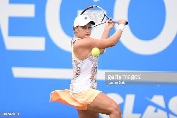 Ashleigh Barty of Australia in action during the semi final match against Garbiñe Muguruza of Spain on day six of The Aegon Classic Birmingham at...