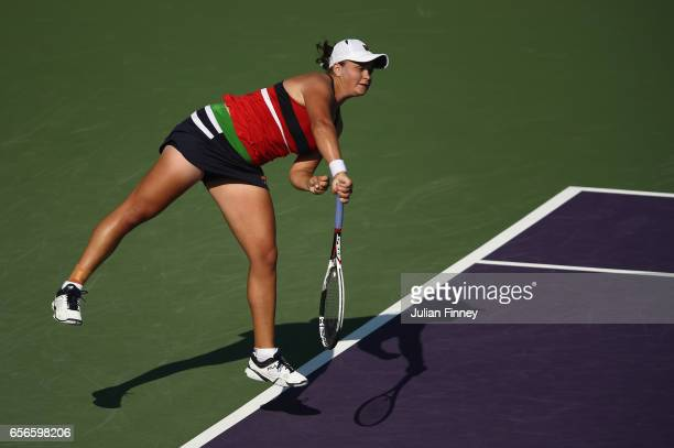 Ashleigh Barty of Australia in action in her match against Eugenie Bouchard of Canada at Crandon Park Tennis Center on March 22 2017 in Key Biscayne...