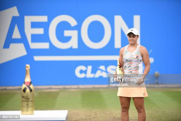 Ashleigh Barty of Australia looks on after losing to Petra Kvitova of Czech Republic during the final match against on day seven of The Aegon Classic...