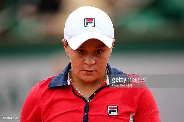 Ashleigh Barty of Australia looks on during her women's singles match against Alize Cornet of France on day two of the French Open at Roland Garros...