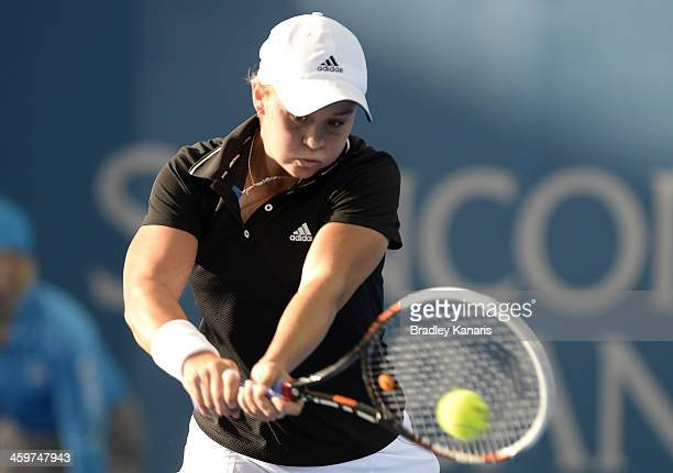 Ashleigh Barty of Australia plays a backhand against Daniela Hantuchova of Sovlakia during day two of the 2014 Brisbane International at Queensland...
