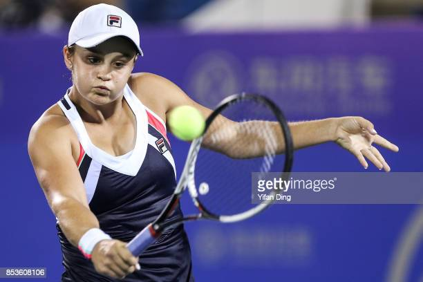 Ashleigh Barty of Australia plays a backhand during the match against Johanna Konta of Great Britain on Day 2 of 2017 Dongfeng Motor Wuhan Open at...