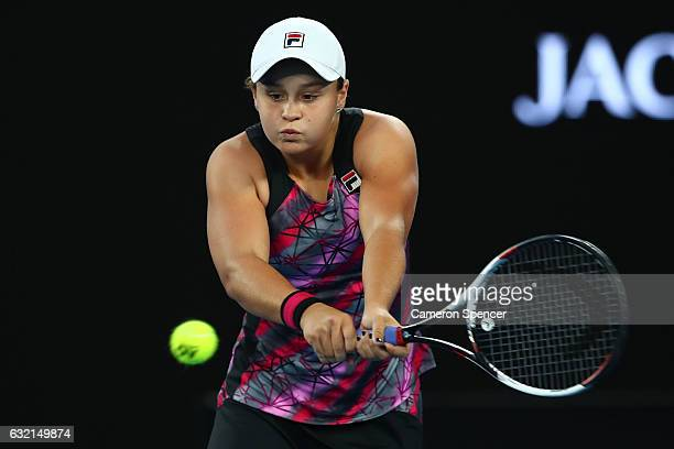 Ashleigh Barty of Australia plays a backhand in her third round match against Mona Barthel of Germany on day five of the 2017 Australian Open at...