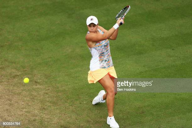 Ashleigh Barty of Australia plays a backhand shot during her semi final match against Garbine Muguruza day six of the Aegon Classic Birmingham at...