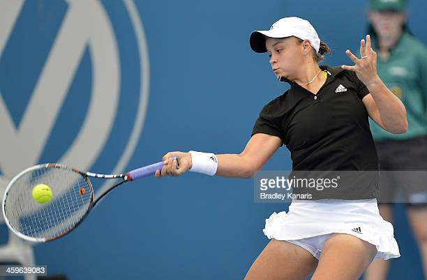 Ashleigh Barty of Australia plays a forehand during day one of the 2014 Brisbane International at Queensland Tennis Centre on December 29 2013 in...