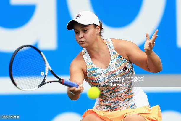 Ashleigh Barty of Australia plays a forehand shot during the Women's Singles final match against Petra Kvitova on day seven of the Aegon Classic...