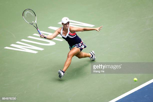 Ashleigh Barty of Australia returns a shot during the match against Karolina Pliskova of Czech on Day 5 of 2017 Dongfeng Motor Wuhan Open at Optics...