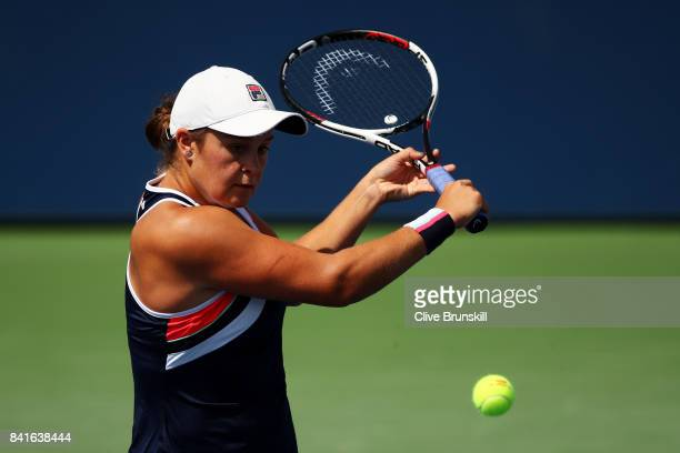 Ashleigh Barty of Australia returns a shot to Sloane Stephens of the United States during their third round match on Day Five of the 2017 US Open at...