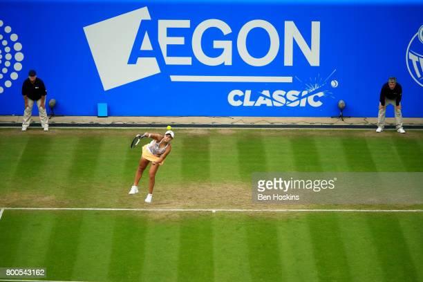 Ashleigh Barty of Australia serves during her semi final match against Garbine Muguruza day six of the Aegon Classic Birmingham at Edgbaston Priory...