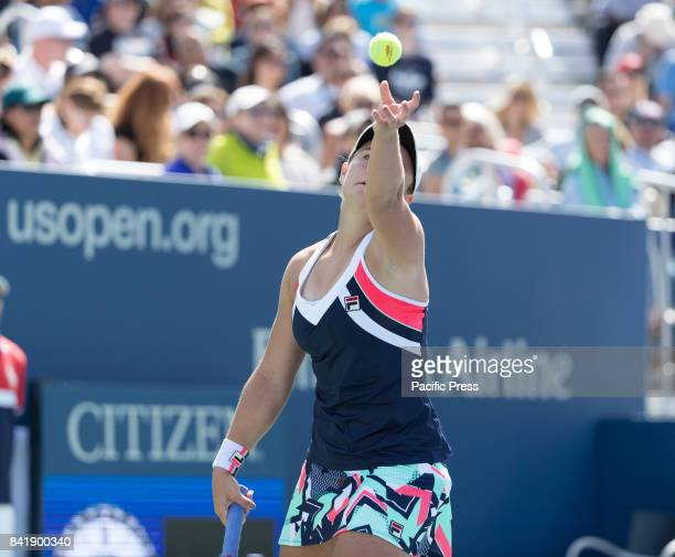 Ashleigh Barty of Australia serves during match against Sloane Stephens of USA at US Open Championships at Billie Jean King National Tennis Center