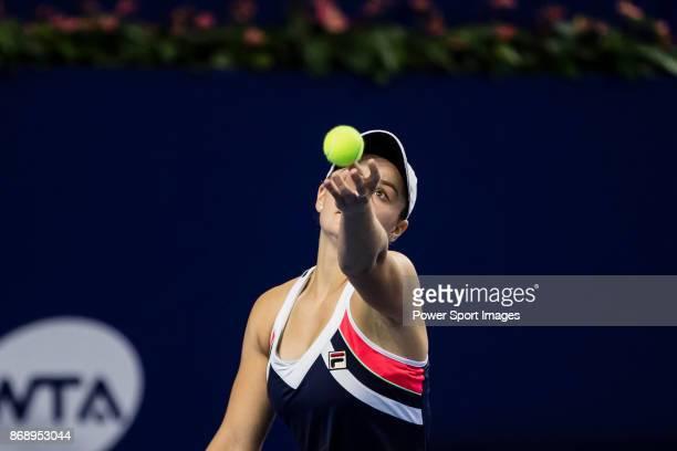 Ashleigh Barty of Australia serves during the singles Round Robin match of the WTA Elite Trophy Zhuhai 2017 against Anastasia Pavlyuchenkova of...