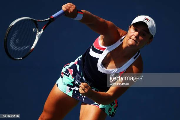 Ashleigh Barty of Australia serves to Sloane Stephens of the United States during their third round match on Day Five of the 2017 US Open at the USTA...