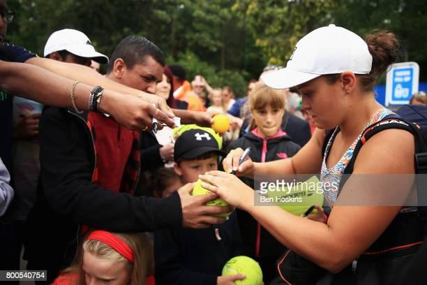 Ashleigh Barty of Australia signs autographs after her semi final match against Garbine Muguruza day six of the Aegon Classic Birmingham at Edgbaston...