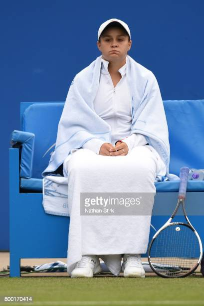 Ashleigh Barty of Australia takes a break during the quarter final match against Camila Giorgi of Italy on day five of The Aegon Classic Birmingham...