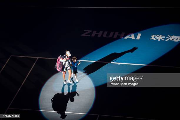 Ashleigh Barty of Australia walks to the court prior the singles semi final match of the WTA Elite Trophy Zhuhai 2017 against Coco Vandeweghe of...