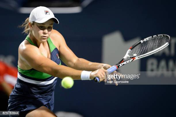 Ashleigh Barty of Austria returns the ball during her third round match of the 2017 Rogers Cup tennis tournament on August 9 at Aviva Centre in...