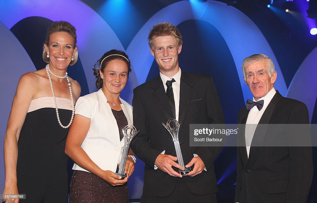 Ashleigh Barty (2nd L) who received the Female Junior Athlete of the Year award and Luke Saville (2nd R) who received the Male Junior Athlete of the Year award pose with Nicole Bradtke (L) and Ken Rosewall during the 2012 John Newcombe Medal at Crown Palladium on December 3, 2012 in Melbourne, Australia.
