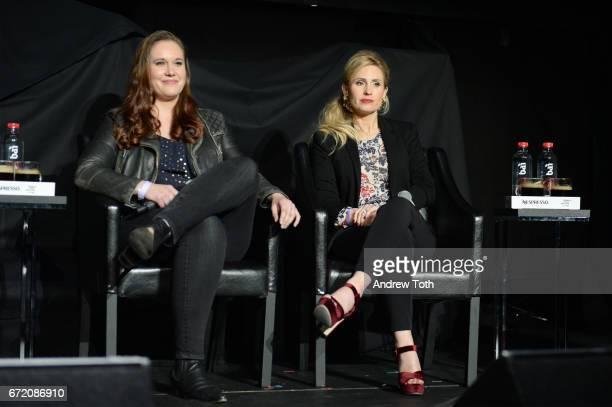 Ashleigh Bell and Kate Ledger attend the 'I Am Heath Ledger' premiere during the 2017 Tribeca Film Festival at Spring Studios on April 23 2017 in New...