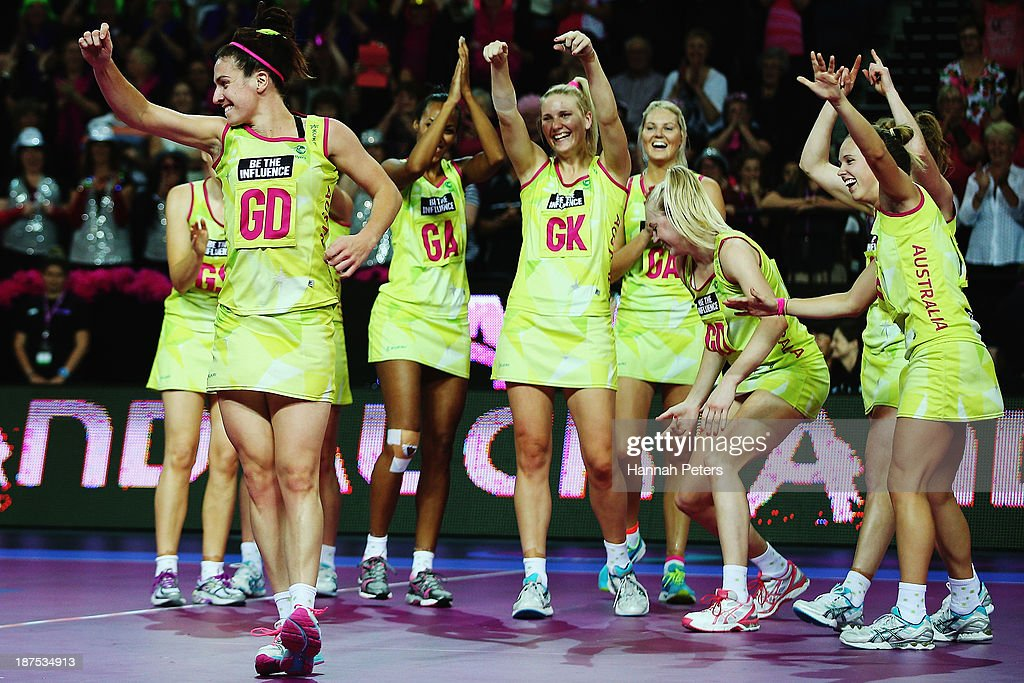 Ashleigh Brazill of Australia dances for her team after playing in the final match between New Zealand and Australia on day three of the Fast5 Netball World Series at Vector Arena on November 10, 2013 in Auckland, New Zealand.