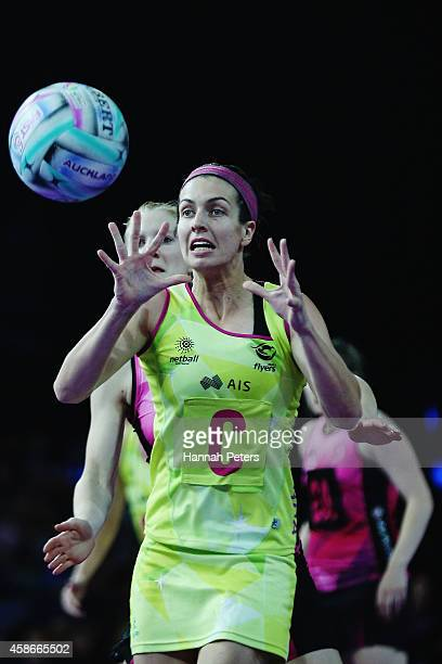 Ashleigh Brazill of Australia passes the ball out during the Fast5 Netball Series final match between Australia and New Zealand at Vector Arena on...