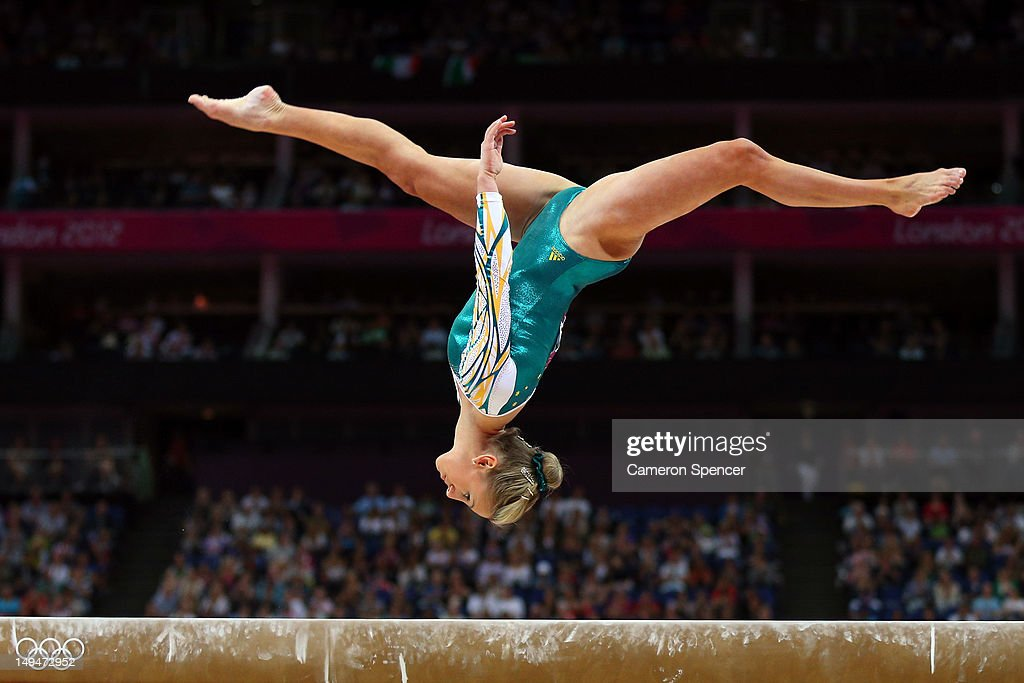 Ashleigh Brennan of Australia competes on the beam in the Artistic Gymnastics Women's Team qualification on Day 2 of the London 2012 Olympic Games at...
