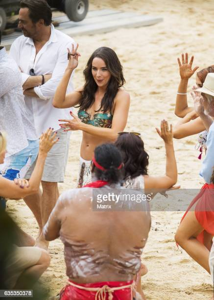 Ashleigh Brewer is seen at the Bold and the Beautiful filming at the beach on February 15 2017 in Sydney Australia