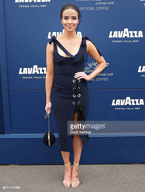 Ashleigh Brewer poses at the Lavazza Marquee on Stakes Day at Flemington Racecourse on November 5 2016 in Melbourne Australia