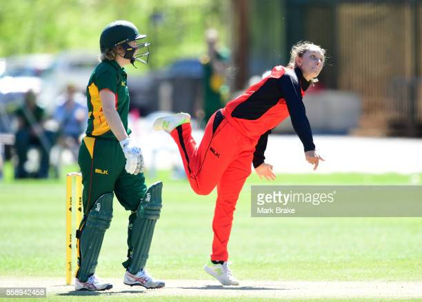 Ashleigh Gardener bowling during the WNCL match between South Australia and Tasmania at Adelaide Oval No2 on October 8 2017 in Adelaide Australia