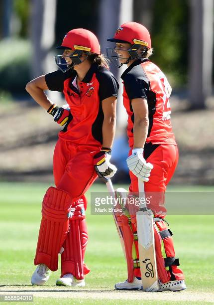 Ashleigh Gardner and Sophie Devine during the WNCL match between South Australia and Tasmania at Adelaide Oval No2 on October 8 2017 in Adelaide...