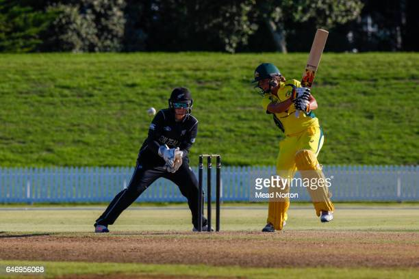Ashleigh Gardner batting during the Women's One Day International match between the New Zealand White Ferns and the Australia Southern Stars on March...
